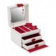 Joyero Amira blanco con costuras rojas.